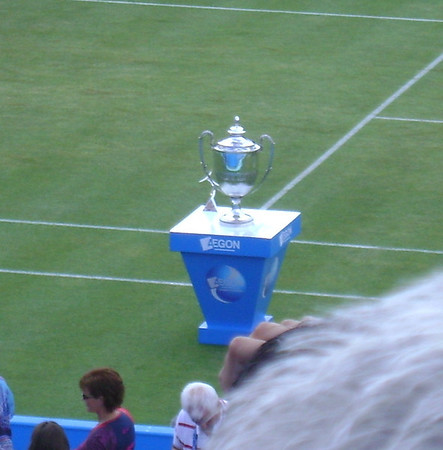 The trophy at Queens club (now called the Aegeon Championships), one of the few places where von Cramm could play, and where he defeated Bobby Riggs.